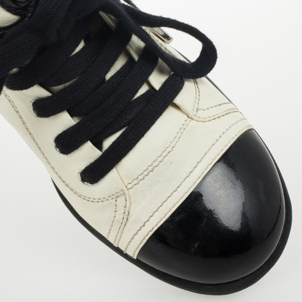 Chanel Black & White High Top Lace Up Sneakers Size 36