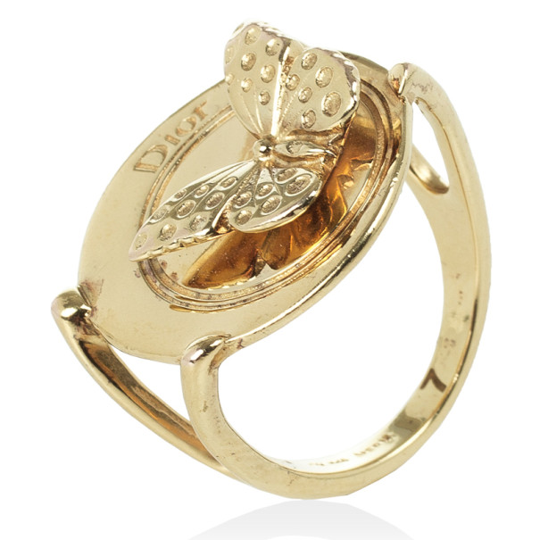 Christian Dior Butterfly Metal Ring Size 54.5
