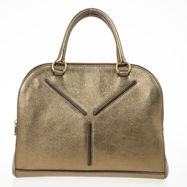 Yves Saint Laurent Metallic Bronze Leather Sac 32 Tote Bag