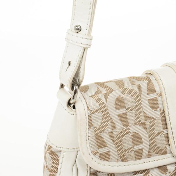Aigner White Monogram Shoulder Bag