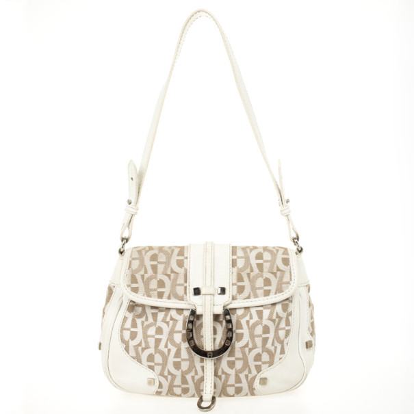 Aigner White Monogram Shoulder Bag