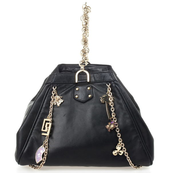 Versace For H&M Black Leather Hobo Bag