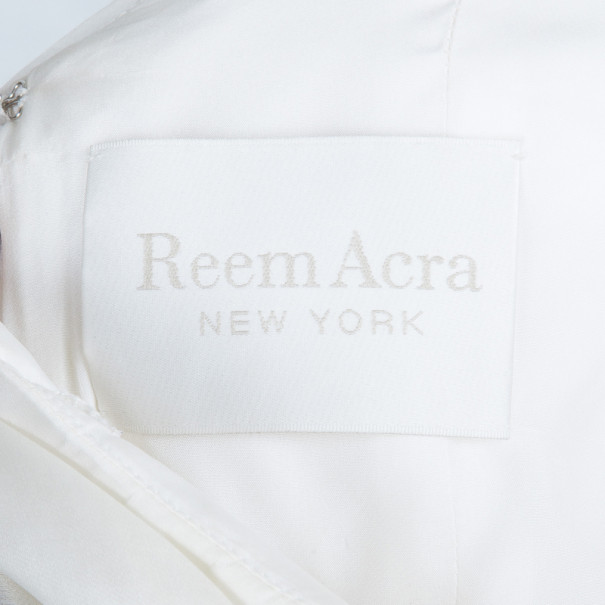 Reem Acra Satin Organza Wedding Dress M