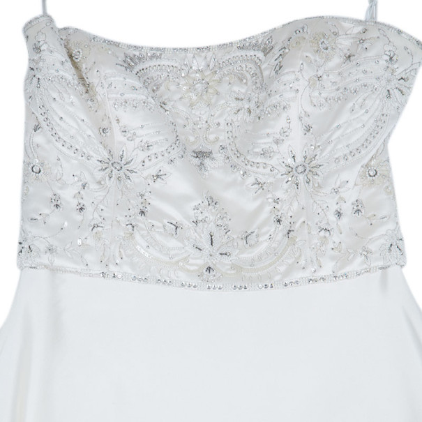 Reem Acra Embellished Flare Wedding Dress M