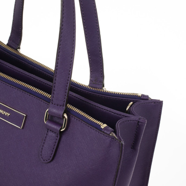 DKNY Purple Hudson Double Zip Tote