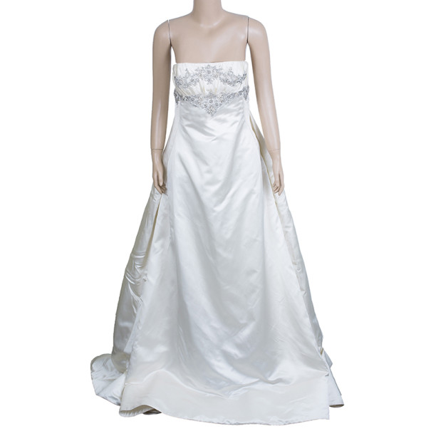Reem Acra Embellished Ruched Wedding Dress L