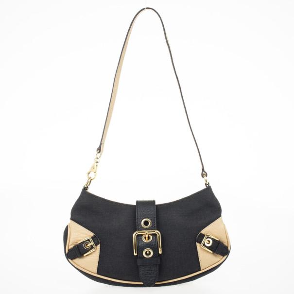 Dolce and Gabbana Black Canvas Buckle Shoulder Bag
