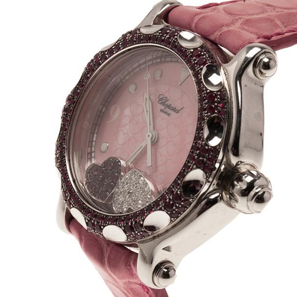 Chopard Pink Stainless Steel Chopard Happy Hearts Women's Wristwatch 38MM