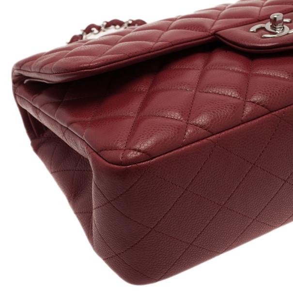 Chanel Dark Red Caviar Jumbo Double Flap Bag