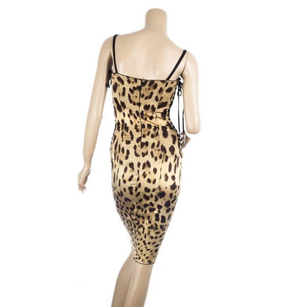Dolce and Gabbana Leopard Print Corset Dress M