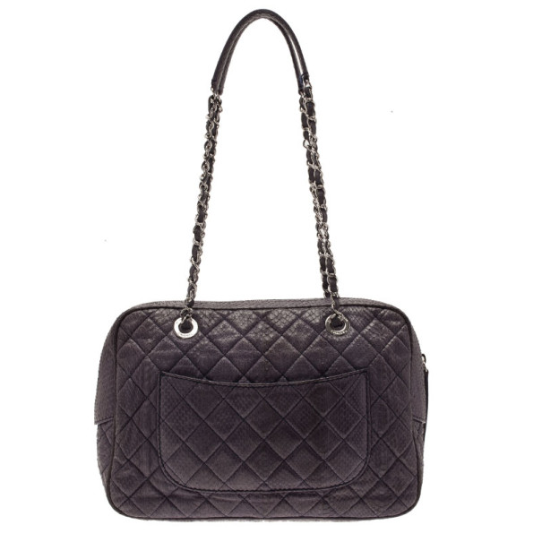Chanel Purple Python Front Pocket Shoulder Bag