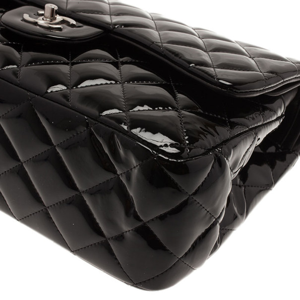 Chanel Black Patent Classic Double Flap Bag