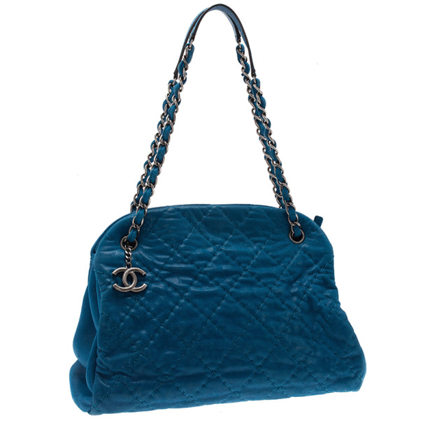 Chanel Blue Leather Maxi Mademoiselle Bag