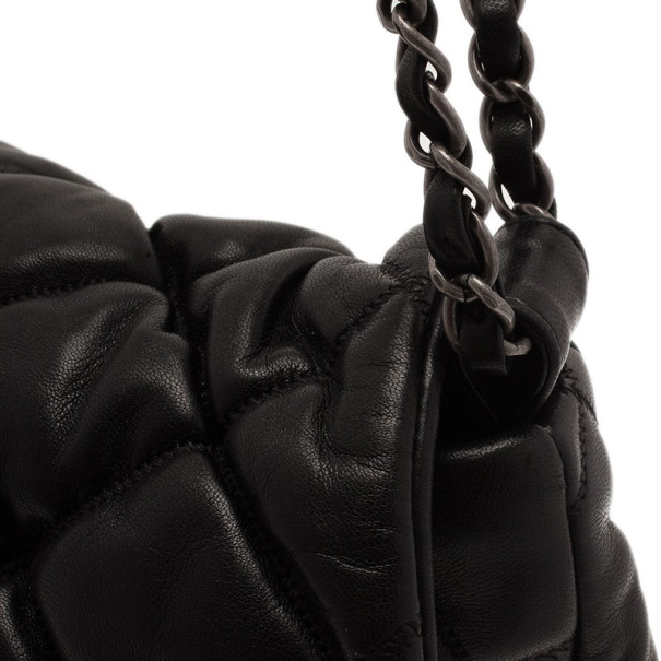 Chanel Black Quilted Bubble Large Flap Bag
