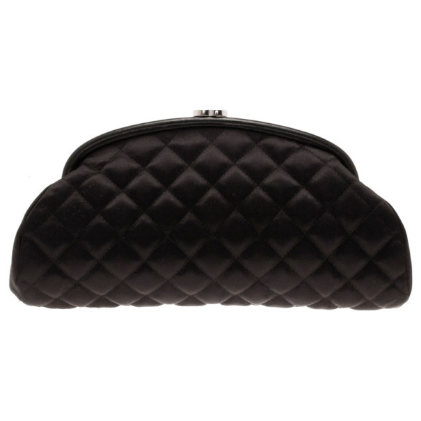 Chanel Black Quilted Fabric Leather Trim Mademoiselle Clutch