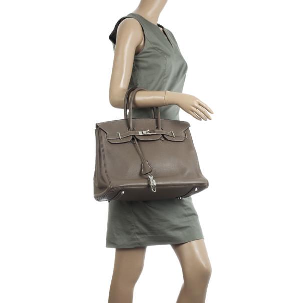 Hermes Etoupe Clemence Birkin Bag 35 CM