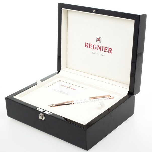 Regnier White Resin and Steel Plated Gold Tone Logo Pen