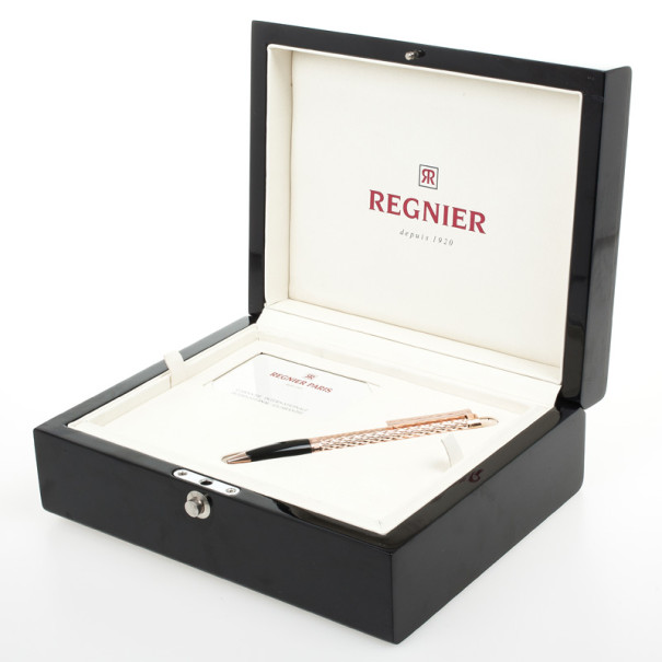 Regnier Resin and Steel Plated Gold Tone Patterned Pen