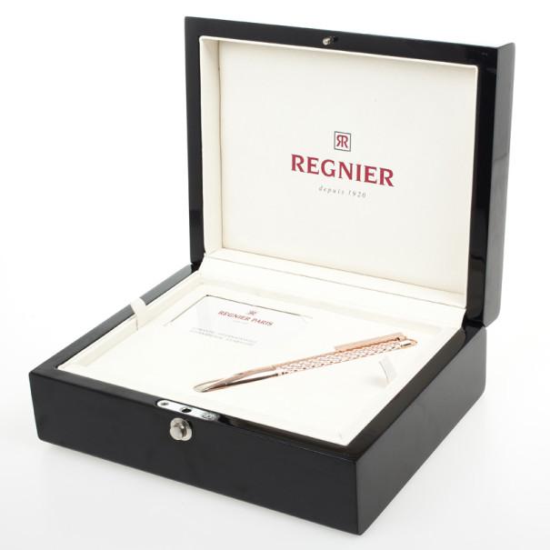 Regnier Steel Plated Gold Tone Diamond Patterned Pen