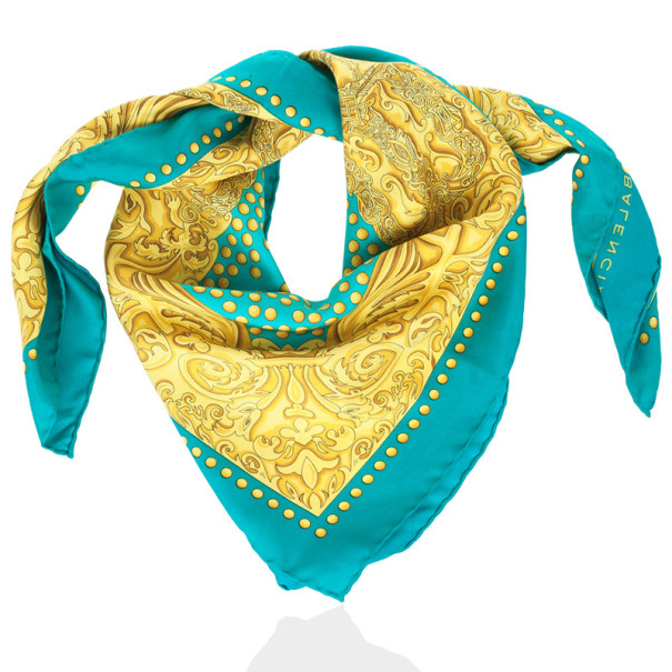 Balenciaga Yellow and Blue Silk Square Scarf