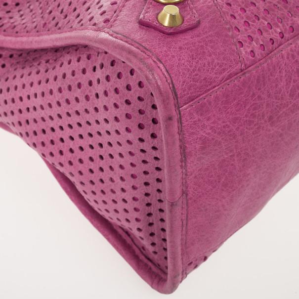 Balenciaga Sorbet Pink Perforated Classic Gold City Bag