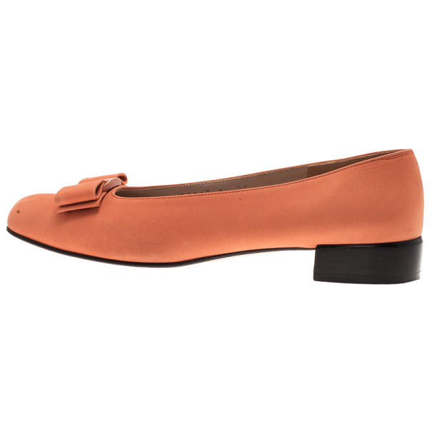 Salvatore Ferragamo Orange Suede Bow Ballet Flats Size 37