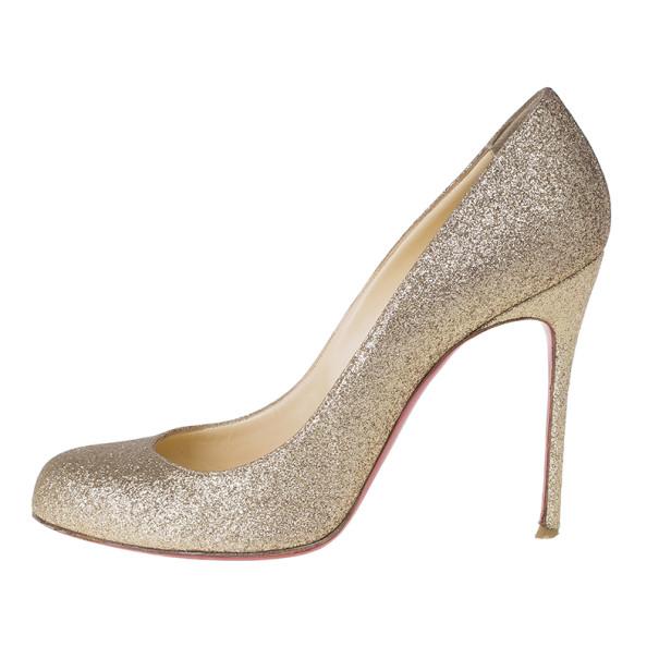 Christian Louboutin Gold Glitter Fifi Pumps Size 38