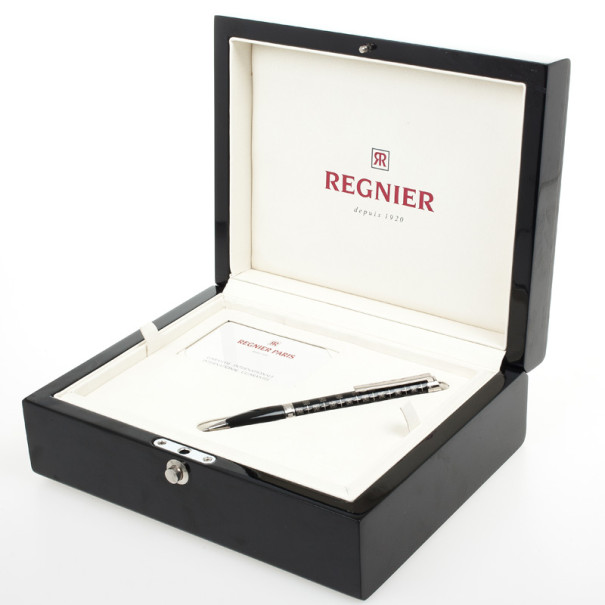 Regnier Black Steel Plated Logo Pen