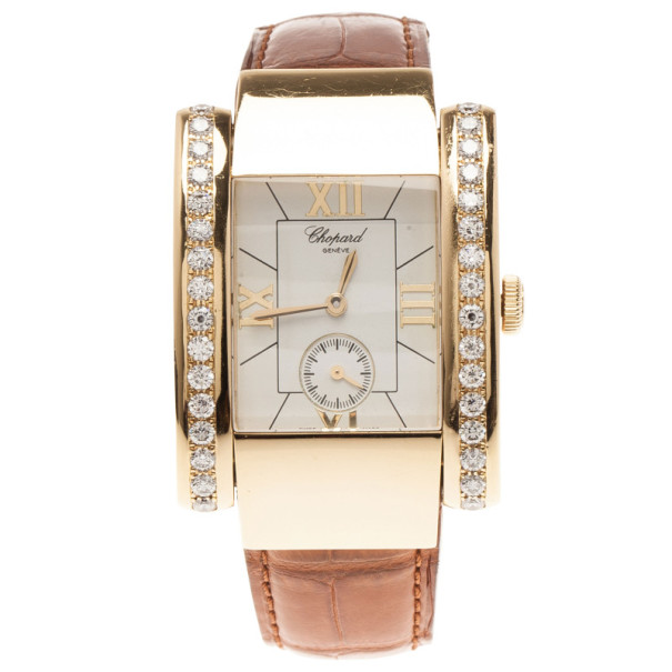 Chopard White 18K Yellow Gold La Strada Women's Wristwatch 32MM