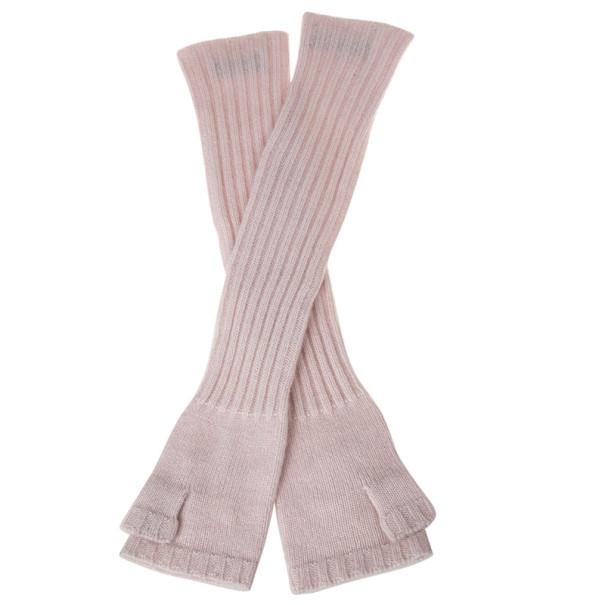 Chanel Light Pink Cashmere Fingerless Elbow Gloves