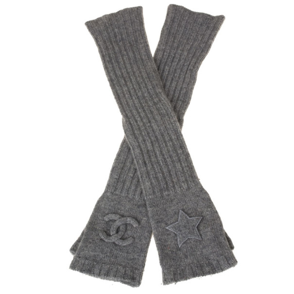 Chanel Grey Cashmere Fingerless Elbow Gloves