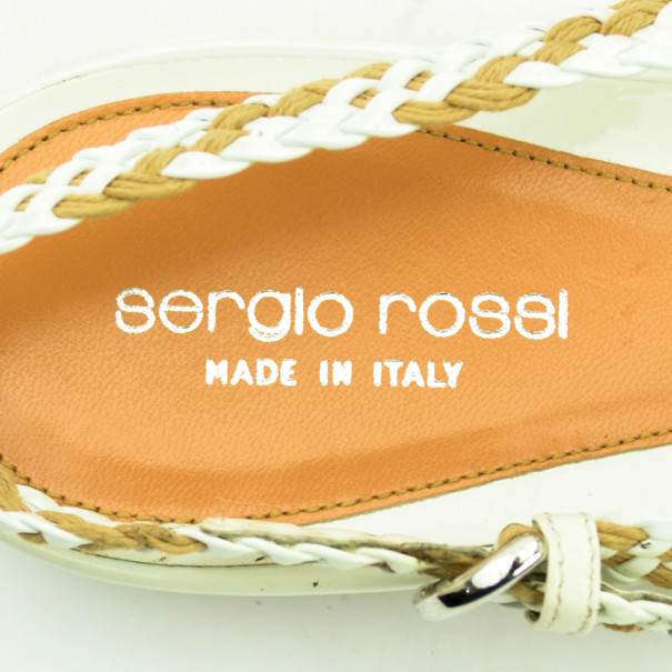Sergio Rossi Woven Slingback Flat Sandals Size 41