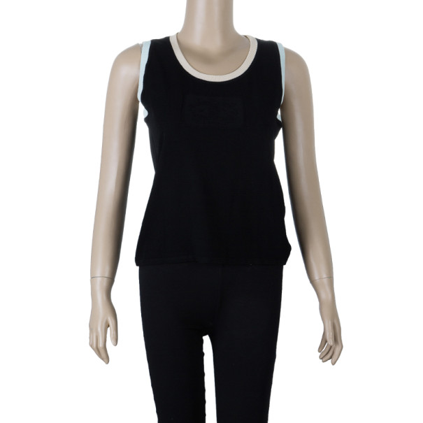 Chanel Block Color Ribbed Sleeveless Top L