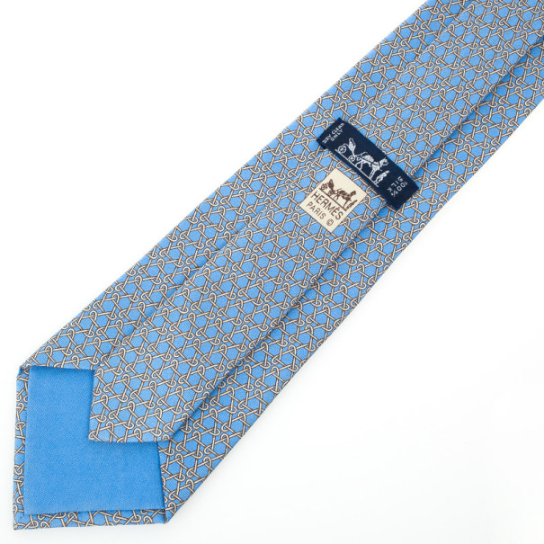 Hermes Light Blue Triangle Chain Silk Tie