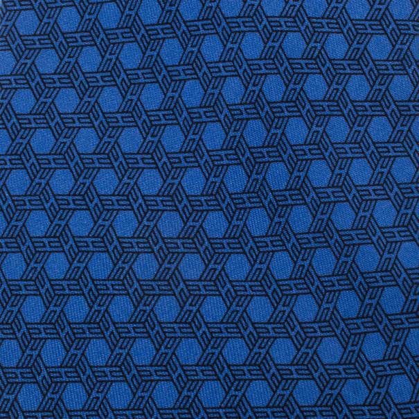 Hermes Blue Hexagon 'H' Print Silk Tie