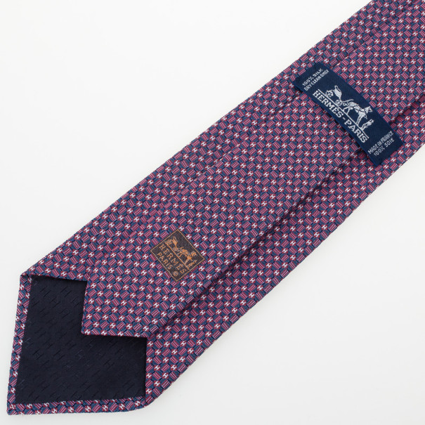 Hermes Purple 'H' Printed Silk Tie