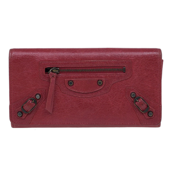 Balenciaga Red Leather Classic Money Wallet