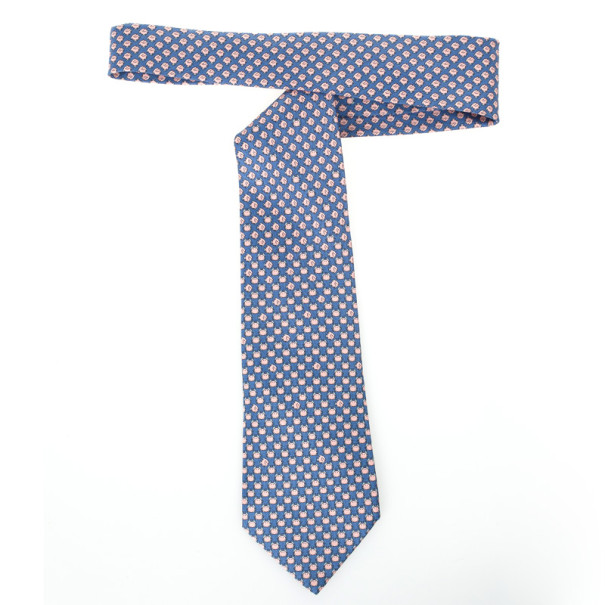 Hermes Blue Fish And Crab Print 'Sea Date' Silk Tie