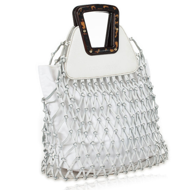 Dolce and Gabbana White Woven Leather Tote