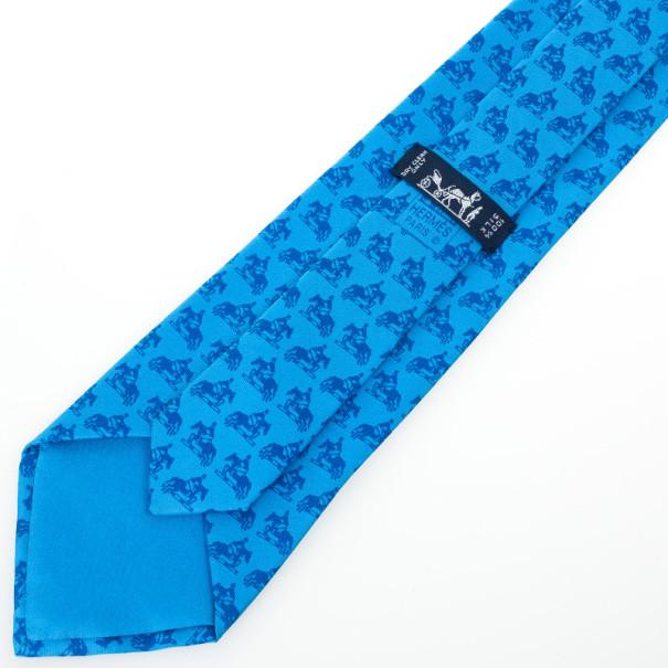 Hermes Signature Horse Logo Print Tie