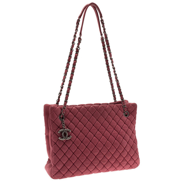 Chanel Pink Lambskin Leather New Bubble Medium North-South Tote