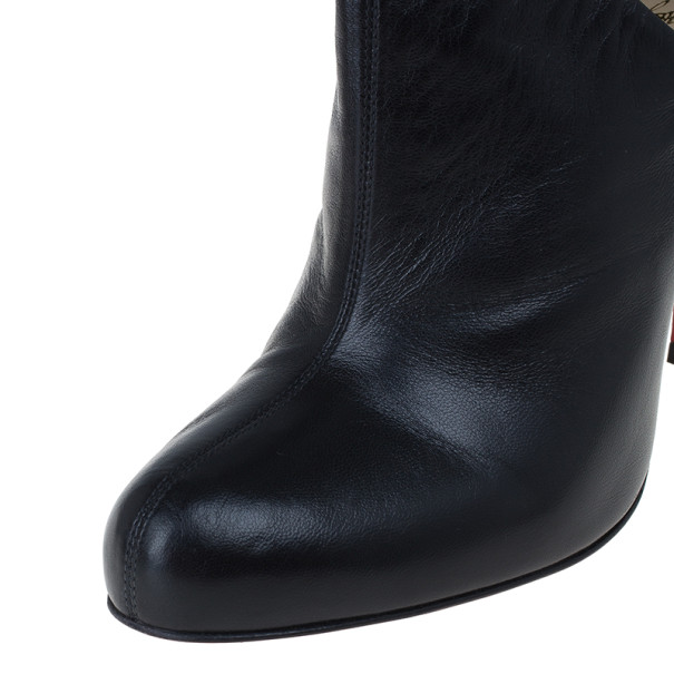 Christian Louboutin Black Leather Lisse Ankle Booties Size 38