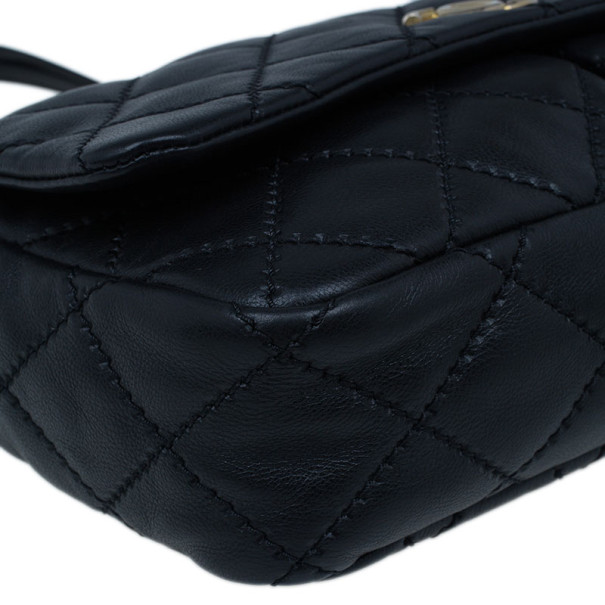 Chanel Black Quilted Lambskin Two Pocket Flap Shoulder Bag