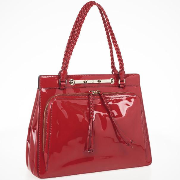 Valentino Garavani Demetra Red Patent Leather Bag