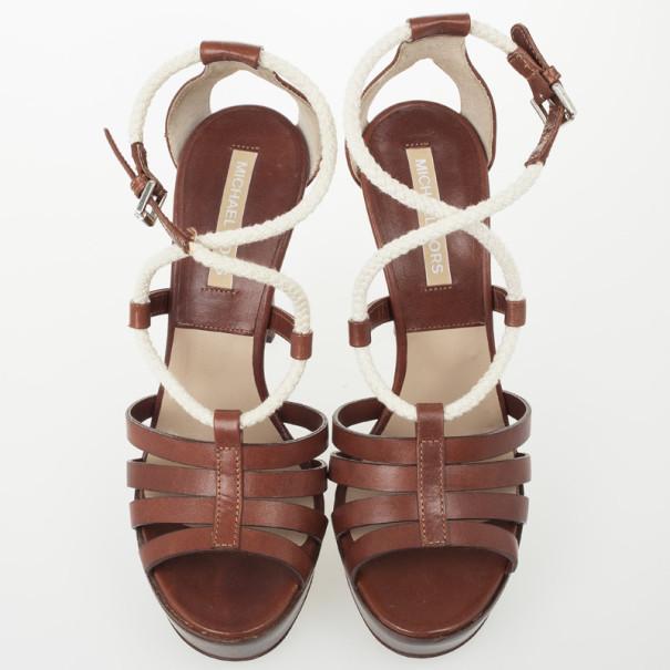 Michael Kors Brown Leather Braid Strap Platform Sandals Size 38.5