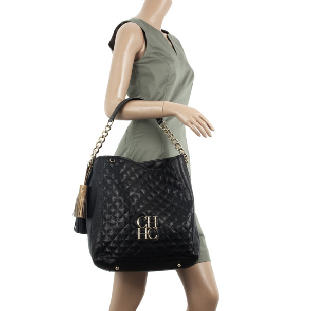 Carolina Herrera CH Black Monogram Tote