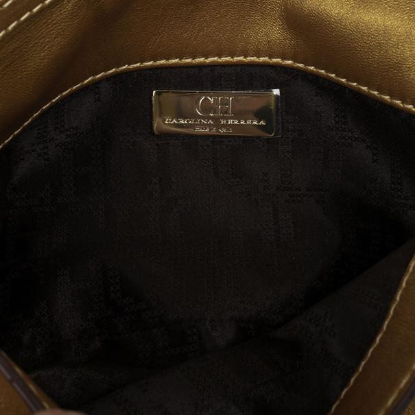 Carolina Herrera Gold Leather Chain Triana Shoulder bag