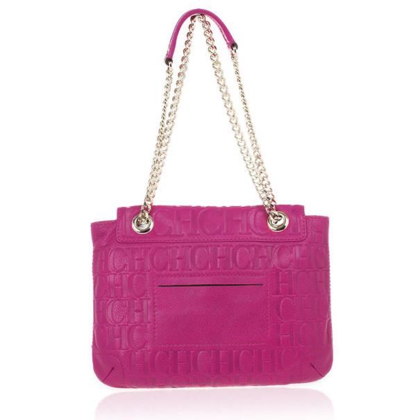 Carolina Herrera 'Holly' Fuschia Monogram Embossed Bag