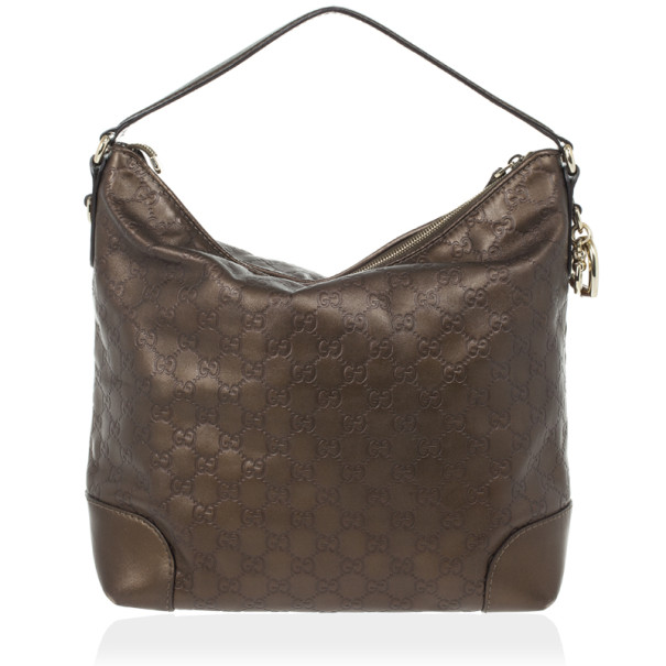 Gucci Bronze Metallic Guccissima Leather Heart-Bit Medium Hobo Bag