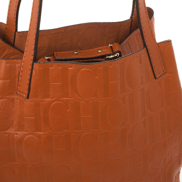 Carolina Herrera Burnt Orange Matryoshka Monogram Leather Tote